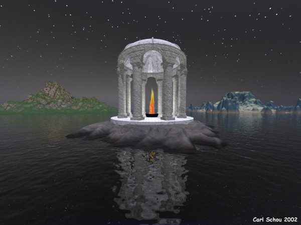 The Temple in the Harbor of the Night, 600 by 450 pixels
